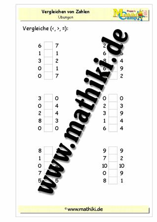Großzügig Mathe Arbeitsblatt Zu Vergleichen Zahlen Galerie - Mathe ...