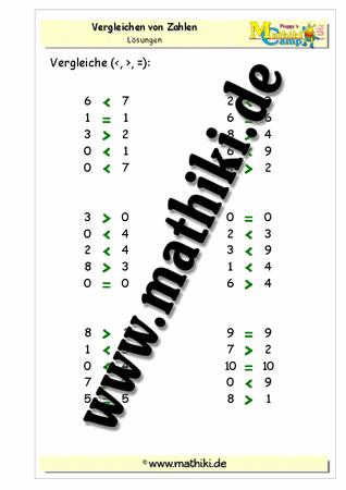 Zahlen vergleichen bis 10 (Klasse 1) - mathiki.de
