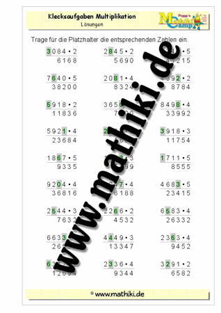 Klecksaufgaben Multiplikation II (Klasse 4) - mathiki.de