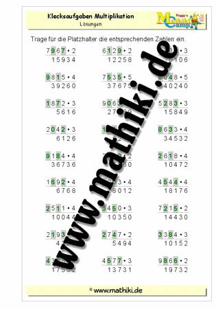 Klecksaufgaben Multiplikation IV (Klasse 4) - mathiki.de