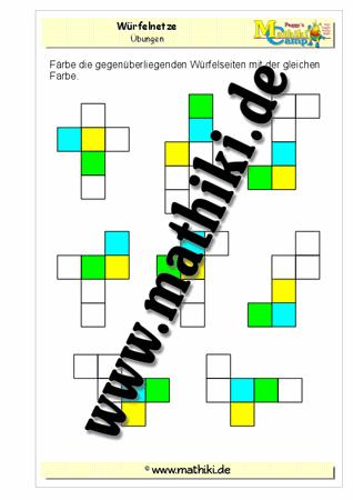 Würfelflächen in Würfelnetzen färben (Klasse 4) - mathiki.de