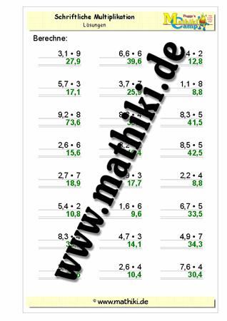 Dezimalzahlen Multiplikation I (Klasse 5/6) - mathiki.de