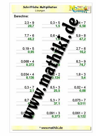 Dezimalzahlen Multiplikation IV (Klasse 5/6) - mathiki.de