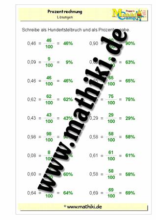 Bruch in Prozent (Klasse 7/8) - mathiki.de