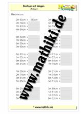 Rechnen mit Längen - umrechnen - (Klasse 3) - mathiki.de